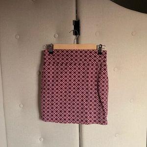 Printed stretch heavy cotton bodycon mini skirt